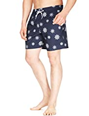Blue Harbour Quick Dry Ship Wheel Print Swim Shorts