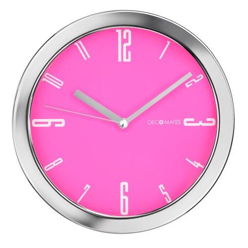 DecoMates Non-Ticking Silent Wall Clock - Vivid (Pink)