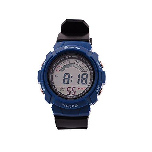 8Years- 1 Stueck Digitaluhr Armbanduhr Watch Wasserdicht Stoppuhr Sportuhr Knallblau