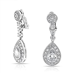 Bling Jewelry Large Dangle Teardrop CZ Bridal Chandelier Clip On Earrings
