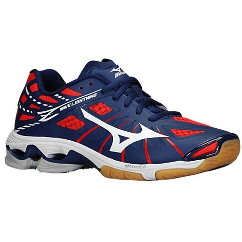 Mizuno Women's Wave Lightning Z WOMS NY-RD Volleyball Shoe, Navy Red, 9 D US