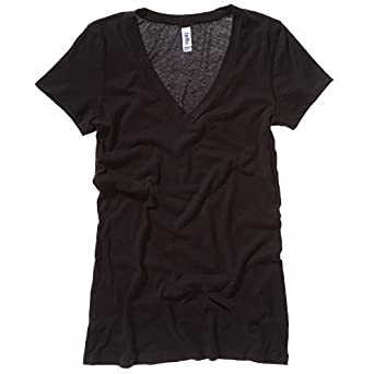 Bella Canvas Tissue Jersey Deep V-Neck T-Shirt - Black - M
