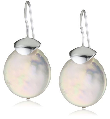 Catherine Canino Sterling Silver and Round Freshwater Pearl and Dangle Earrings, 20mm