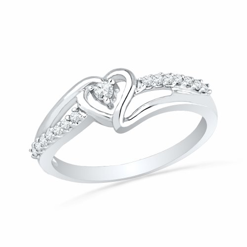 Sterling Silver Round Diamond Heart Promise Ring (1/10 cttw): Jewelry