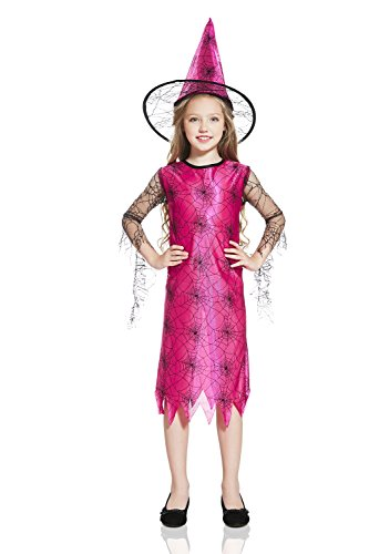 Kids Girls Little Witch Halloween Costume Pink Enchantress Dress Up & Role Play (6-8 years, pink, (Cheap Costume Ideas Halloween)