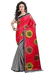 Pruthu Bhagalpuri Silk Sari with Blouse Piece (pbs_jija_Color_Red)