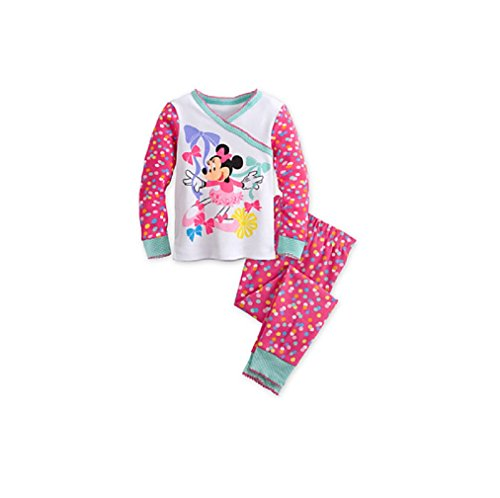 Disney Store Minnie Mouse Clubhouse Polka Dots PJ Pals Pajama Sleep Set for Girls, Size 5