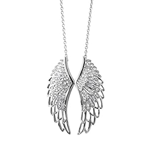 Sterling Silver Angel Feather Wing White Diamond Pendant Necklace (HI, I1-I2, 0.50 carat)