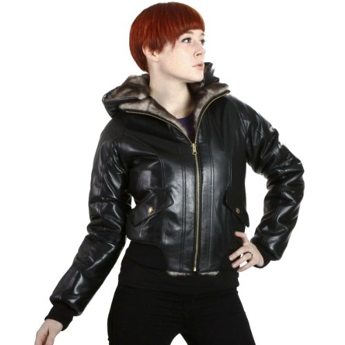 United Face Womens Hooded Reversible Fur Leather Bomber Jacket, Black, 2X