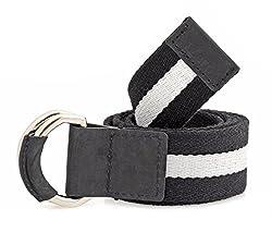 tZaro Genuine Leather, Wooven Cotton, Metal Buckel Men's Belt