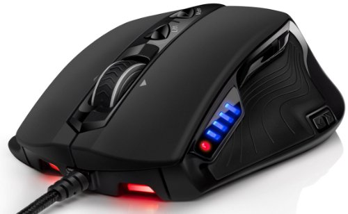 Sentey® Gaming Mouse Pc Revolution Pro-8200 Dpi 11750Fps Laser Mmo/Rts/Fps/Ceramic Foots/9 Macro Configurable Buttons / Hard Carrying Transport Case / Weight Tuning Cartridges / Replaceable Side Grip For 4 And 5 Fingers / 5 Led Color Profile Selector / Om