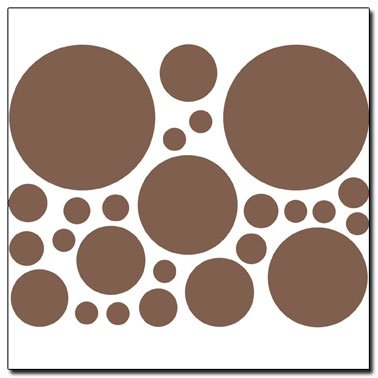 Instant Murals 25 Polka Dot Wall Transfer Stickers   Chocolate