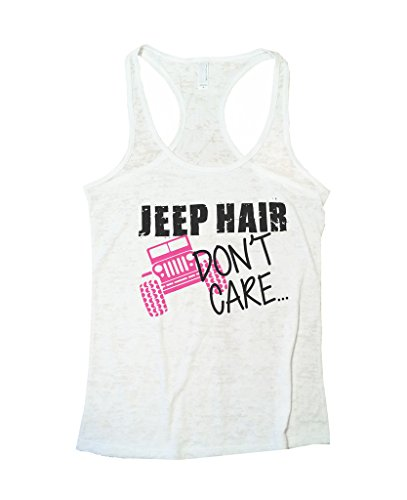 Womens Jeep Hair Dont Care Burnout Racerback Tank Top Funny Threadz(Medium, White)