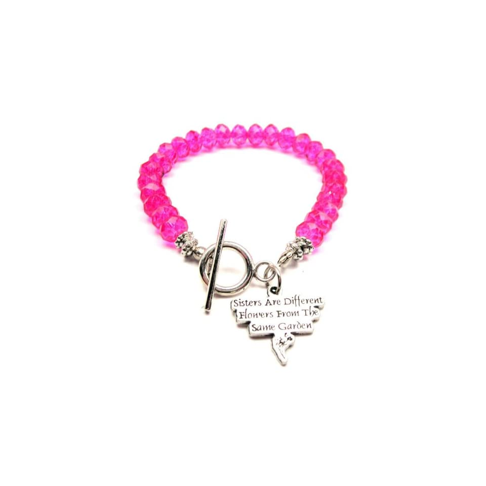 Sisters Are Different Flowers From the Same Garden Hot Pink Crystal Beaded Toggle Bracelet ChubbyChicoCharms Jewelry