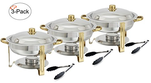tiger chef 3 pack 4 quart round chafing dish buffet warmer set gold rh stainless steelcookwares blogspot com chafing dish buffet set amazon chafing dish buffet set up