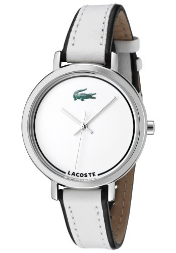 LACOSTE WHITE AND BLACK LEATHER STRAP LADIES WATCH - 2000501