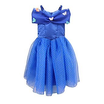 Onegreentree New Cinderella Dress 2015 Butterfly Costume Dark Blue Color