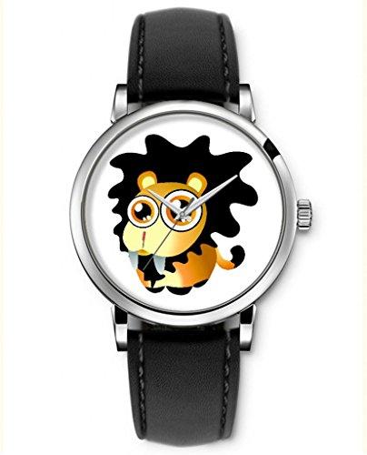 Sprawl Cartoon Watches For Teenage Girls Boys Analog Quartz Wrist Watch Black Genuine Leather Strap -- Crying Lion