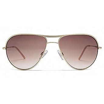 Karen Millen Brow Bar Aviator Sunglasses in Pale Gold