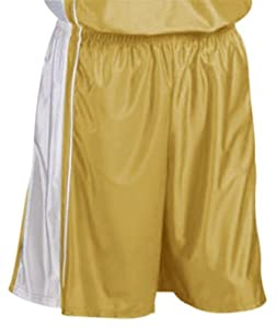 Teamwork Adult Youth Dazzle Basketball Shorts 775-VEGAS GOLD WHITE A2XL-9 INSEAM by Teamwork