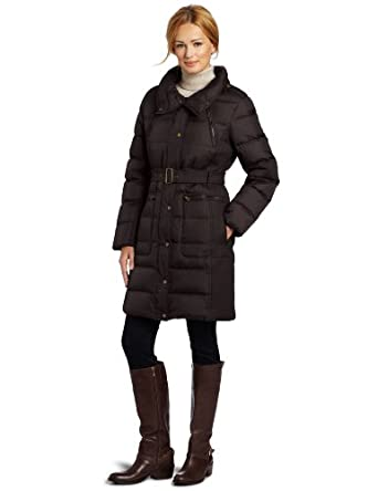 Tommy Hilfiger Women's Belted Down Jacket, Chocolate, X-Large