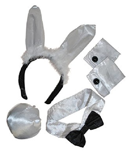 Bunny Set Womens Cocktail Rabbit Costume Accessory Tail Ears Arm Cuffs Collar