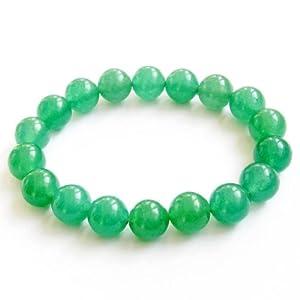 Ovalbuy 10mm Green Stone Beads Tibetan Buddhist Mala Bracelet