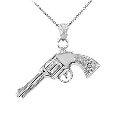Solid 14k White Gold Revolver Pistol Gun Pendant Necklace