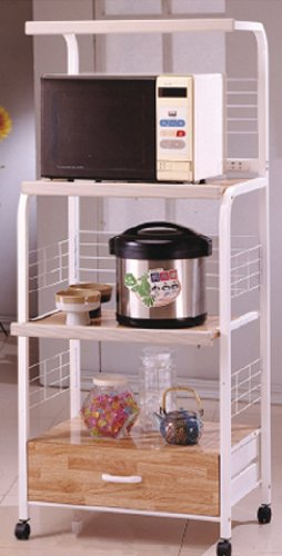 White/Natural Kitchen Cart - Rolling