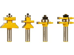 Yonico 15423 4 Bit Tongue and Groove and V-notch Router Bit Set 1/2-Inch Shank