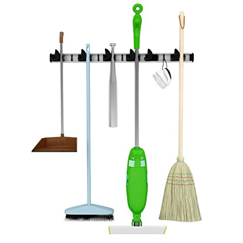 Mop, Broom & Tool Holder- Perfect in Garage Basement- Garden Tool Storage-Laundry Room Organization-Wall Mounted Aluminum Organizer- For Home & Commercial Use (Broom Holder Commercial compare prices)