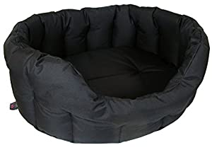 P & L Superior Pet Beds Heavy Duty Oval Waterproof Softee Bed, Large, 76 x 64 x 24 cm, Black