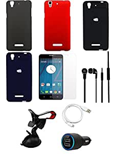 NIROSHA Tempered Glass Screen Guard Cover Case Car Charger Headphone USB Cable Mobile Holder Combo for YU Yureka Combo