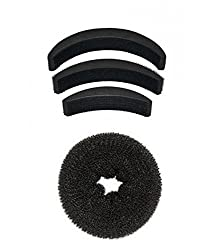 Homeoculture Pack of 1 medium size hair donut + set of 3 hair puff high volumizer banana bumpits