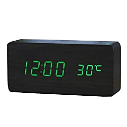 Wood Multifunction Digital LED Desk Alarm Clock Thermometer Timer with USB Cable