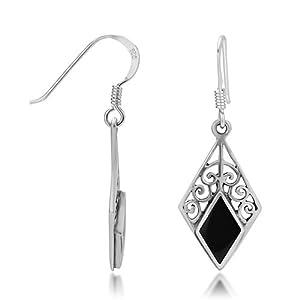 925 Sterling Silver Black Onyx Gemstone Bali Inspired Diamond Shaped Filigree Dangle Hook Earrings