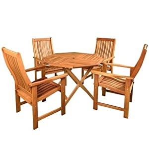 Billyoh Sovereign 1m Octagonal 4 Seater Wooden Garden Furniture Set Garden Outdoors