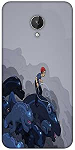 Snoogg Boy Riding The Bull 2596 Designer Protective Back Case Cover For Micromax Canvas Spark Q380