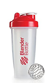 BlenderBottle Classic Shaker Bottle, 28-ounce, Clear/Red
