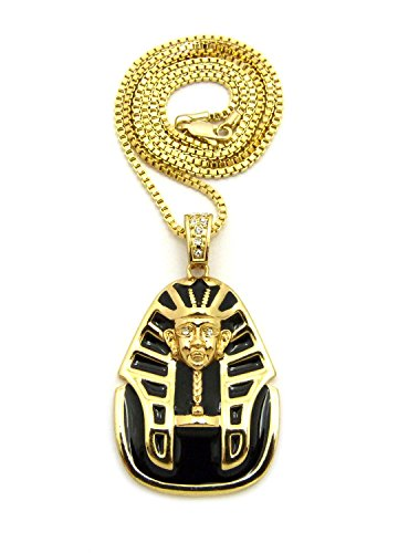 [Polished Black Headdress Pharaoh Pendant with Chain Necklace in Gold-Tone - 2mm 24