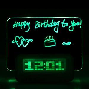 Andoer Digital Alarm Clock / Message Board / Calendario / Termometro  fluorescente Message Board Clock con Fluorescente Pen (Colore chiaro  Verde)   recensione