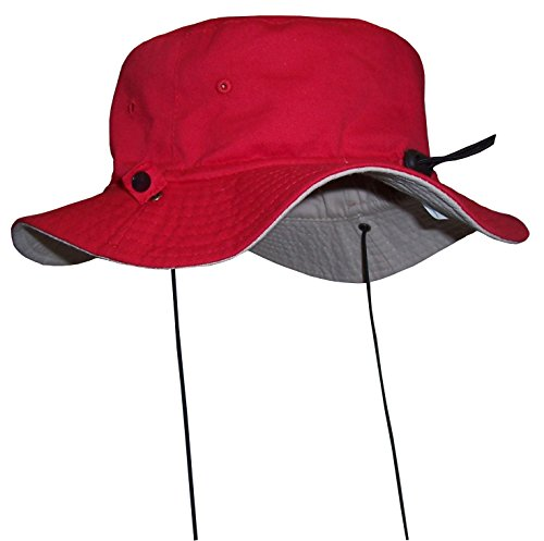 nice-caps-unisex-kids-reversible-and-adjustable-cotton-twill-aussie-hat-52cm205-18-36mo-red-khaki