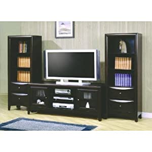 Cappuccino finish flat panel tv stand entertainment center home entertainment Home theater furniture amazon
