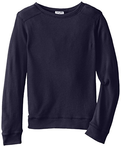 Splendid Big Boys' Solid Thermal Long Sleeve Crew, Navy, 8 front-1014906
