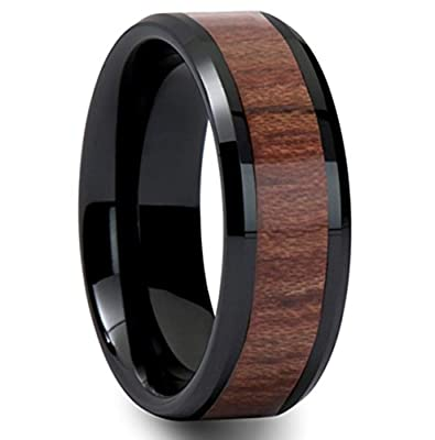 King Will Black Koa Wood Inaly Tungsten Carbide Ring - High Polished Finish Comfort Fit