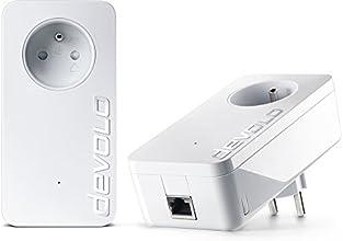devolo 9377 dLAN 1200+ Prise Réseau CPL 1200 Mb/s avec prise gigogne 2 Ports Gigabit Ethernet Prise Filtrée Intégrée  - Kit de Démarrage (x2)