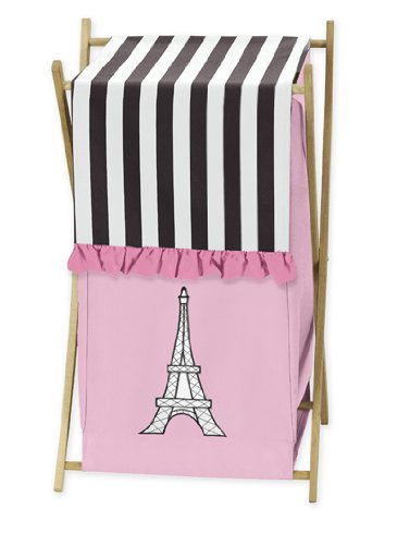 Childrens/Kids Clothes Laundry Hamper For Pink, Black And White Paris French Eifell Tower Bedding By Sweet Jojo Designs