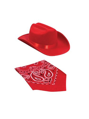 Red Cowgirl Hat and Bandana Set for Kids