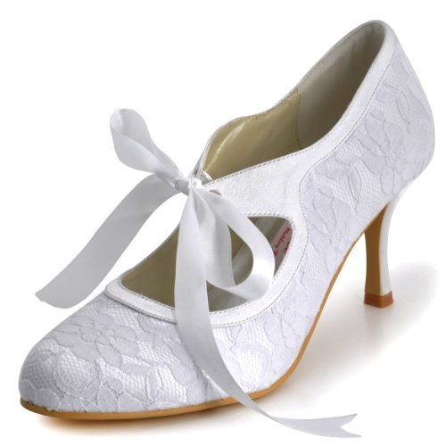 ElegantPark Women Mary Jane Closed Toe High Heel Pumps Lace Wedding Dress Shoes 0