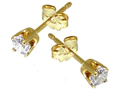 0.25 Carats Diamond Earrings in 14k Yellow Gold